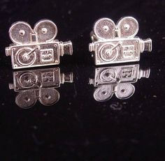 How cool a gift this would be for your favorite photographer or movie director? These are solid sterling and have such detail~! The cufflinks are all sterling silver / Very rare and hard to get! Sometimes a personal well thought out gift shows you took the time to care about that special person in your life. Our items are classic, sometimes unusual and vintage and sometimes a little bizarre. Whether it is a memory from their past or something that reminds you of how special they are, pur...