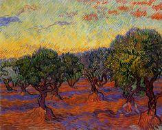 """Olive Trees, Orange Sky"" - Vincent van Gogh"