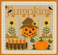 "SUGAR STITCHES ""Pumpkin Sampler"" | Counted Cross Stitch Pattern | Folk Art, October, Autumn, Fall, Jack-O-Lantern, Pumpkins Sunflower by NeedleCaseGoodies on Etsy https://www.etsy.com/listing/557181453/sugar-stitches-pumpkin-sampler-counted"