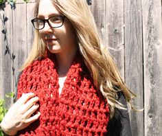 Check out my new Etsy shop, Sweet Bohemia  Long Double Crochet Infinity Scarf - Red