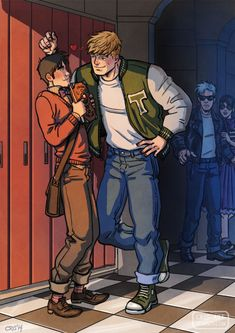 """cris-art: Billy and Teddy of the """"Jock and Nerd against the world"""" XDD AU the 50's"""