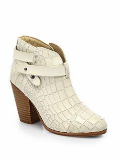 Rag & Bone - Harrow Croc-Embossed Leather Ankle Boots - Saks.com