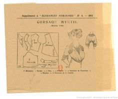 Pattern from Élégances féminines. Revue mensuelle de la grande couture parisienne 1911.