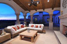 Balcony patio w/ fireplace....Spanish Colonial Estate - Luxury Calvis Wyant Homes