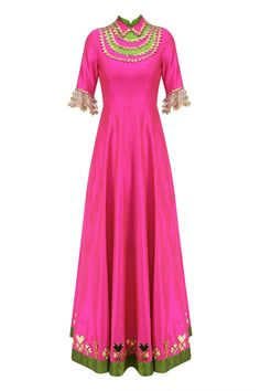 Hot pink and gold coin work anarkali set available only at Pernia's Pop Up Shop.
