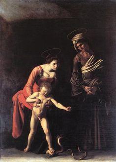 Michelangelo Merisi da Caravaggio Paintings-Madonna and Child with St. Anne (Dei Palafrenieri), 1606