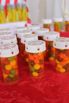 Skittles in pill bottles for favors