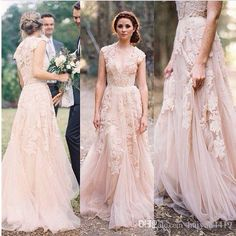 2016 Cheap Country A Line Wedding Dresses V Neck Full Lace Appliques Blush Champagne Long Sweep Train Reem Acra Formal Bridal Gowns Online with $149.74/Piece on Haiyan4419's Store | DHgate.com