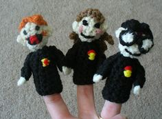 Harry Potter, Ron and Hermione - the Pocket Potter Puppet Pals! Pattern from here: http://www.innerchildcrochet.com/patterns/pppp_kids.html