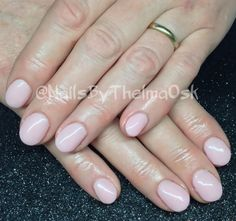 Soft marshmallow pink hard gel manicure on natural nail