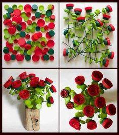 Flores recicladas con tapas