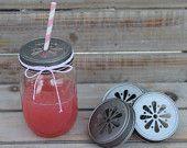 Daisy Cut Mason Jar Lids-  6 Pewter Lids