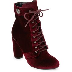 Catherine Catherine Malandrino Burgundy Veeanca Velvet Lace-Up Booties ($60) ❤ liked on Polyvore featuring shoes, boots, ankle booties, red, lace up ankle booties, red high heel boots, red boots, velvet boots and lace up booties