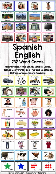 Spanish - English Word Cards - 232 Printable cards in 14 Categories at Clever Chameleon - Teachers Pay Teachers.
