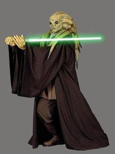 Jedi Master Kit Fisto, Known for his easy-going nature, aggressive fighting style, and his thickJamaican Accent