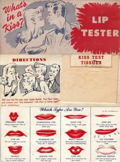 Vintage ad to learn your type of kiss. Test tissues included !!!