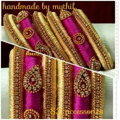 Pink and Sandler bangles Silk Thread Bangles Design, Silk Thread Necklace, Silk Bangles, Bridal Bangles, Thread Jewellery, Teracotta Jewellery, Beaded Bracelets Tutorial, Bangles Making, Jewelry Patterns