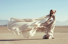 Dress, Desert, Flowing, Wind, Model, Lucy