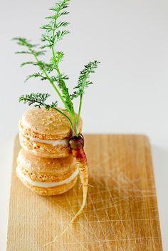 Carrot cake macarons with maple cream cheese filling recipe - Lara Ferroni