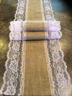 6ft Burlap Lace Runner Wedding Table Runner by LovelyLaceDesigns
