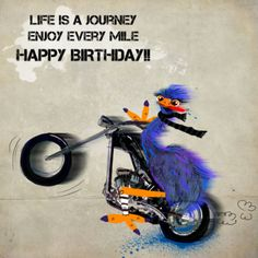 Happy birthday motorcycle Days of the week Cards to