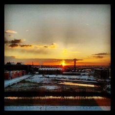 Cold morning @ndsm  #ndsm #amsterdam #iamsterdam #snow #sneeuw #schnee #neige #cold #sunrise #zonsopgang #sun #zon #sonne #soleil #reflection #orange #oranje #industry #parking #clouds #wolken #crane #nederland #netherlands #autumn #herfst #yellow #geel #blauw #blue