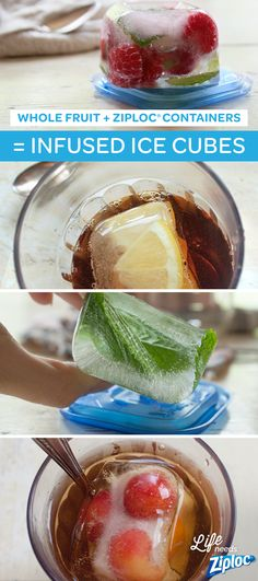 These infused ice cubes take iced tea to the next level. The best part? You don't have to chop and prep a ton of fruits or herbs. The Ziploc® Extra Small Square Containers are the perfect size for holding whole cherries, raspberries, mint leaves, and more. Just toss in fruit, fill to the top with water (or limeade or lemonade), and freeze. A great way to use leftover fruit, or veggies like cucumbers.