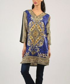 Another great find on #zulily! Blue Paisley V-Neck Tunic - Women & Plus by Kushi by Jasko #zulilyfinds