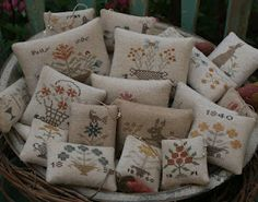 Susan from Olde Threads stitches up these wonderful little pinkeeps pillows!