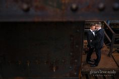 Same sex wedding in Cleveland, groom portraits in the Flats - Copyright Genevieve Nisly Photography, Fall, Ohio