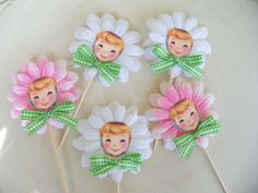 Daisy Girl Cupcake toppers by Jeanknee, via Flickr