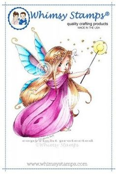 """Whimsy Stamps/E. Bell """"Shimmery Sprinkles Fairy"""" Rubber Stamp"""