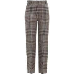3.1 Phillip Lim Virgin Wool Glen Plaid Straight Leg Trousers (€440) ❤ liked on Polyvore featuring pants, trousers, brown, brown crop pants, relaxed fit pants, straight leg pants, relaxed pants and brown pants