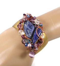 Blue Sodalite & beaded Brass Cuff Bracelet  by InVintageHeaven, $115.00
