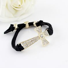 BEACH HIPPIE Crystal Cross Faux Leather Bracelet Black $12 (Was $24) 1/2 PRICE!  SHIPS FREE ♥ BUY HERE: http://www.beachhippieinc.net/beach-hippie-crystal-cross-faux-leather-bracelet-black-12-1-2-price/ ♥ INCLUDES NORTON SHOPPING PROTECTION & LOWEST PRICE GUARANTEE