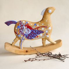 Wooden horse sculpture for home decor with flower by SolarRabbit