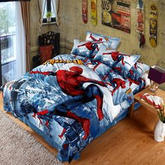 Spiderman bedding set queen size. 100% cotton fabric, high density high count, super soft and comfortable Bed sheet set. Worldwide Free Delivery For Orders