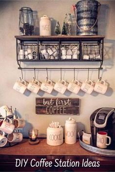 Great home coffee bar ideas – Love them ALL! Great home coffee bar ideas – Love them ALL! Great home coffee bar ideas – Love them ALL! Great home coffee bar ideas – Love them ALL! Coffee Nook, Coffee Bar Home, Coffee House Decor, Coffee Cups, Coffee Bar Station, Keurig Station, Coffee Station Kitchen, Coffee Bars In Kitchen, Tea Station