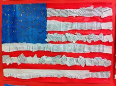 American Flag  made with book pages   Apex Elementary Art