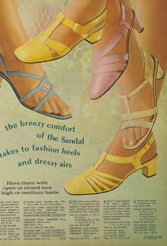 """""""Have them with open or closed toes. Low, high or medium heels"""".  From a 1960s Montgomery Ward catalogue."""