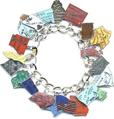Sterling Silver Charm Bracelet Attached 3D 3D Oklahoma Route 66 Sign Travel Road Trip Charm