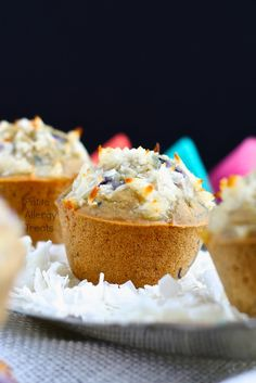 Hooray for gluten free Vegan Blueberry Coconut Muffins! These are great for the morning or anytime and they are also: peanut free, soy free and dairy free. (Almost tree nut free* See notes below) A Gluten Free Blueberry, Vegan Blueberry, Gluten Free Muffins, Gluten Free Treats, Gluten Free Desserts, Dairy Free Recipes, Healthy Desserts, Vegan Gluten Free, Coconut Muffins