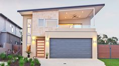 Modern Two Storey Front Elevation, skillion roof, cedar pivot entry door, rustic style landscaping Facade House, House Roof, House Facades, House Elevation, Front Elevation, Two Storey House, Roof Architecture, Storey Homes, House Extensions
