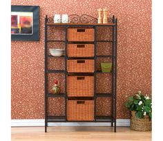 5-Drawer Baker's Rack - Elegant and beautiful, this five-drawer kitchen rack will help with storage, display and organization all in one. Two large lower brown stained rattan baskets and three smaller upper baskets function as removable drawers while ten open wire shelves on the sides provide versatility. Decorative scrollwork laces the top for a classic touch. www.millstores.com