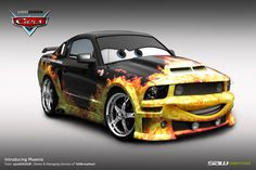 Disney cars commission_Phoenix by yasiddesign on DeviantArt Disney Cars Movie, Disney Cars Toys, Pixar Movies, Movie Cars, Disney Games, 2007 Ford Mustang, Cars Characters, My Little Pony Twilight, Garage Art