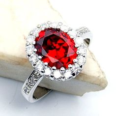 'Flames of Love' Sterling Silver Red Cubic Zirconia Ring Size 8.75