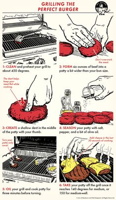 Cooking the perfect burger is an essential grilling skill that lots of people don't have (and don't even know they don't have) Burger Bar, Burger On Grill, Grilling Tips, Grilling Recipes, Bbq Tips, Burger Recipes, Beef Recipes, Thai Recipes, Rice Recipes
