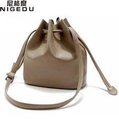 Nigedu Simple classic euramerican style bucket Crossbody Bags High quality PU leather women shoulder bag women handbag free shipping
