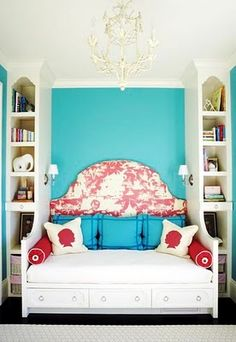 Interesting concept for the daybed and bookcase combination but altogether this does't feel right to me. Balance issue? or Color Issue?  Hummmm......
