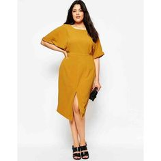 Asos Curve Plain Wiggle Cutout Back Dress Col. Mustard in the atrium with the lead pipe . yeah I didn't know what to do with myself either. Worn once. ASOS Dresses